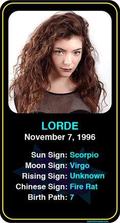Celeb #Scorpio birthdays: Lorde's astrology info! Sign up here to see more: https://www.astroconnects.com/galleries/celeb-birthday-gallery/scorpio?start=90  #astrology #horoscope #zodiac #birthchart #natalchart #lorde