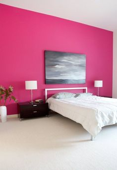 Pink bedroom in a contemporary home in Austin, TX