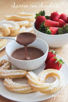 churros con chocolate, a recipe from Spain