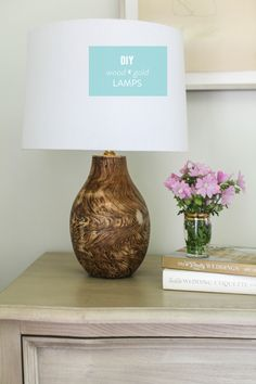 DIY Wood and Gold Lamp  Read more - http://www.stylemepretty.com/living/2013/07/10/diy-wood-and-gold-lamp/