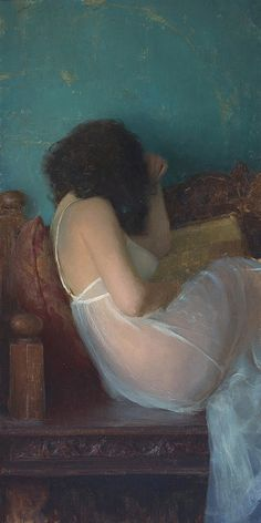 Diaphanous Gown_36x18    Oil on Linen  by Jeremy Lipking