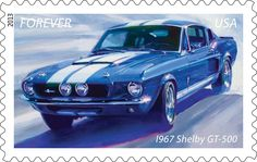"""Here's the fifth and final of the 2013 Muscle Cars stamps, the 1967 Shelby GT-500, a take on the Ford Mustang that reflected manufacturer Carroll Shelby's roots as a racecar driver.  (""""Shelby®"""" and """"GT-500®"""" are registered trademarks of Carroll Shelby Licensing, Inc. used under license. MUSTANG is a registered trademark of Ford Motor Company.)"""