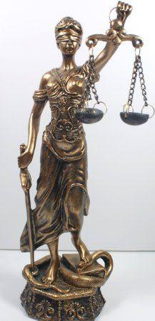 "11"" Justitia - Lady Scales of Justice Statue Figurine"