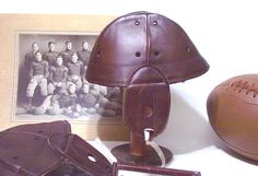 Rare 1903 Beehive leather football helmet ...the legendary one that players folded up and put in their pockets   Just about every school wore these in its inception days of the turn of the century