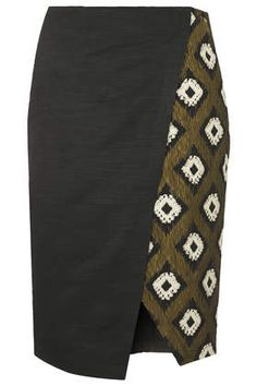 Hybrid Print Wrap Pencil Skirt