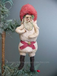 Antique Cotton Santa Christmas Ornament