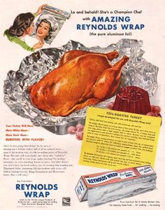 She's a champion chef with amazing Reynold's Wrap! #vintage #ads #Thanksgiving #Christmas #turkey #recipes