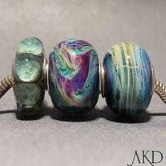 European Charm Bead Set Pandora Style Peacocking