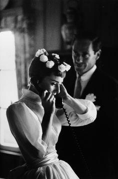 Audrey Hepburn and Mel Ferrer on their wedding day in Bürgenstock, Switzerland. (September 25,1954)