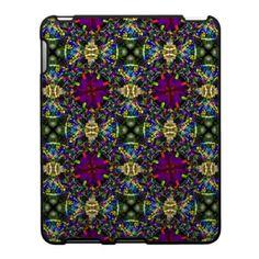 Purple Green and Blue Mandala Fractal Pattern Ipad Skin $56.20
