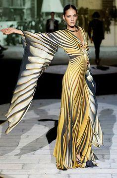 Roberto Cavalli just cavalli, runway yellow dress, roberto cavalli