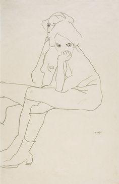 EGON SCHIELE, Zwei Sitzende, 1911