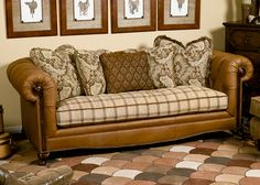 cushion and leather combo could be good @Cathy DePriest leather couch ...