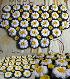 Daisy Rug Free Crochet Pattern with video tutorial - Meladora's Creations