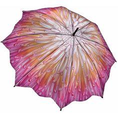 Galleria Art Print Walking Length Umbrella- Chrysanthemum