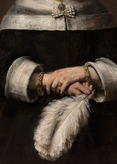 Rembrandt, Portrait of a Lady with an Ostrich-Feather (detail), ca. 1658