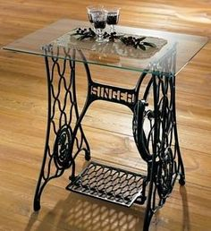 Old Singer sewing machine base made into a table
