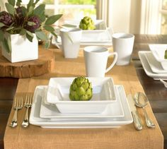 Great White Square Dinnerware 16-Piece Set: 4 Dinner Plates, 4 Salad Plates, 4 Soup Bowls and 4 Mugs (5)