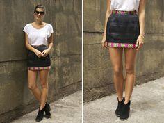 CF x A Pair & a Spare Tutorial: DIY Printed Trim Mini Skirt