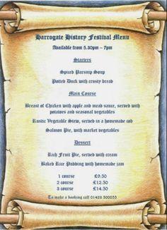 Medieval Banquet Menu