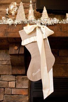 embroidered burlap stocking