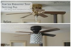 This Yellow House: How to makeover your ugly ceiling fan on a budget. How have I never thought of this before? Just a little spray paint, and the fan I need to redo doesn't even have a light to worry about.