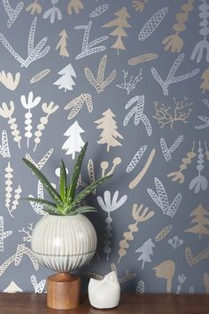 New Wallpaper from Juju Papers on Design*Sponge #wallpaper #juju #plants #flowers #grey #gold #metallic
