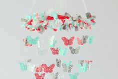 Coral Aqua Gray & White Butterfly Nursery by LoveBugLullabies, $63.00