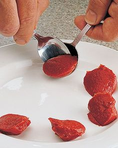 How To Freeze Leftover Tomato Paste : make dots onto a plate using a tablespoon and put into freezer; once frozen solid, transfer to a plastic bag and return to freezer. Use as needed and no more wasted tomato paste!