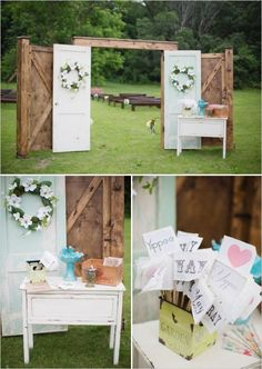 outdoor wedding door, the doors, guest books, farm weddings ideas, barn doors, outdoor vow renewal, outdoor wedding ceremonies, vows renewal ideas, outdoor weddings