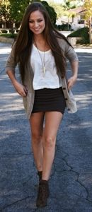 black mini high waist skirt with cardiagn and ankle boots outfit♥