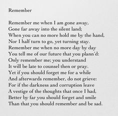 a review of christina rossettis story remember A study guide for christina rossetti's sonnet [ remember ] [cengage learning gale] on amazoncom free shipping on qualifying offers a study guide for christina rossetti's sonnet [ remember ], excerpted from gale's acclaimed poetry for students.
