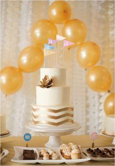 gold chevron wedding cake!
