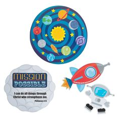 Outer Space VBS Cutouts. Blast off for VBS fun with Outer Space VBS Cutouts. These space-themed VBS decorations encourage kids to spread His word to every corner of the universe! Make these cutouts part of the decorations for your VBS adventure. Cardboard. 9 - 17 © OTC