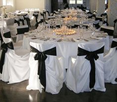Chair Cover!! :  wedding black blue brown gold green ivory orange red white Main. (Purple chair covers, silver ribbons, white table cloth with a silver runner with purple ribbon.)
