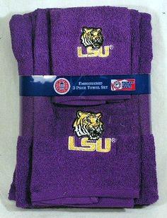 Louisiana State University LSU Tigers 3 Piece Embroidered Bath Towel Gift Set  From Northwest   Get it here: http://astore.amazon.com/ffiilliipp-20/detail/B004YDPCFM/177-6215176-6262568
