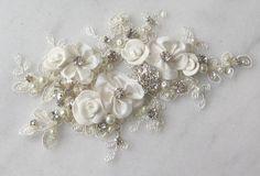 Rhinestone and Pearl Lace Applique, Bridal Applique, Wedding Gown Applique, Sash or Belt Alternative, Embellishment for Wedding Dress
