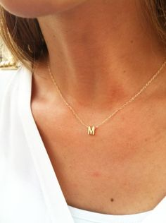 Gold Initial Necklace - Gold Letter Necklace - Tiny Initial Necklace - Delicate Gold Necklace - Simple Gold Jewelry. $26.00, via Etsy.