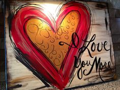 "Red ""I Love You More"" hand-painted canvas art on Etsy"