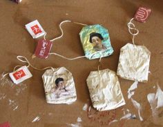 Tea bag art by Coco2005, via Flickr  Little collaged ornaments made out of tea bags.