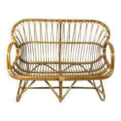 1970s Vintage Woven Rattan and Cane Loveseat