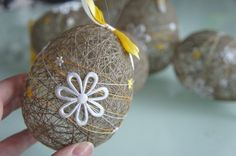 DIY Easter eggs, linen thread ornament for Easter, rustic decor ideas, Easter decoration ideas  #2014 #Easter #Day #DIY #decor #craft #ideas www.loveitsomuch.com