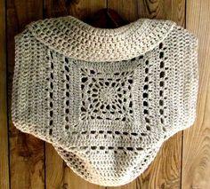 Crochet Pattern Ladies Shrug Granny Square Circle Sweater