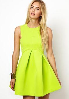 Yellow Plain Round Neck Sleeveless Wrap Chiffon Dress