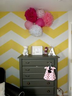 Yellow and White Chevron Accent Wall for the Nursery