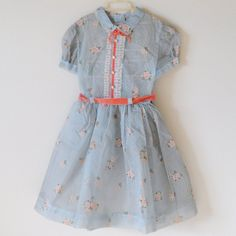 Vintage Girl 1950's Gray Flower Print Dress