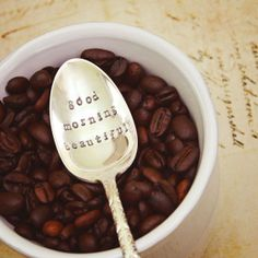 Coffee Spoon Stir Stick - Good Morning Beautiful - Vintage Silver Plated Silverware - Hand Stamped - Upcycled Gift - Stocking Stuffer