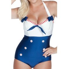 This suit is guaranteed to be a head turner on the beaches and docks, with it's fantastically flattering color blocking, distinctive anchor buttons, and topped off with dainty red and white trim at the bust. #InkedShop #summer #sunshine #vacation #swimsuit #onepiece #sailor