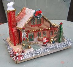 Vintage Christmas Putz House Up-cycled