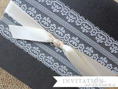 lace pocket wedding invitation
